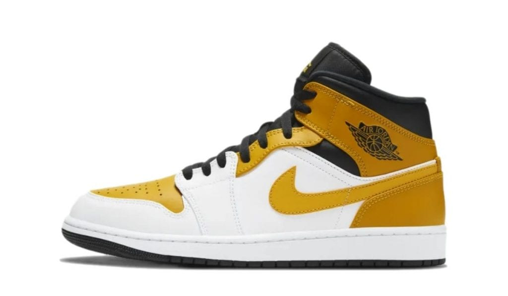 Jordan 1 Mid Gold White